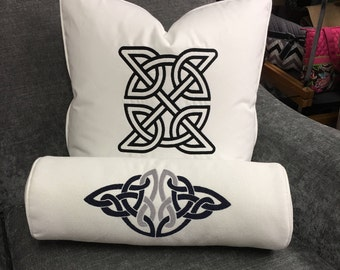Designer pillows with Celtic knot