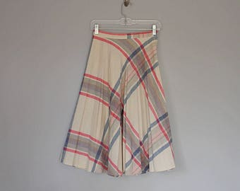 Vintage 70's wool high waist plaid full midi skirt // Size XS / S