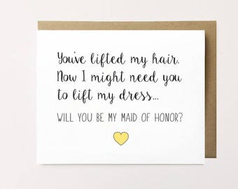 Funny maid of honor card, Funny maid of honor proposal, Best friend maid of honor card, Wedding party card, Wedding stationery proposal card