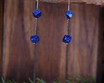 Two-Tier Silver and Stone Earrings
