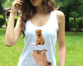 Shar Pei Shirt Shar Pei Tee Shar Pei Tshirt Puppy Shar Pei Tee Shirts Funny Dog Breeds Lady White Top Mirror Shirts Art