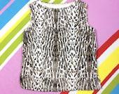 60s Leopard Print Tunic  Faux Fur Mod Vest Top  Womens 1960s Handmade Vintage Sleeveless Tank Top Smock  Size Large