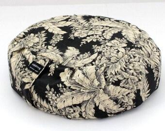 Round Zafu Meditation Cushion - Midnight Flowers