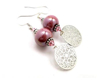 Silver Pink earrings, ceramic, Crystal and brass round prints, hippie chic