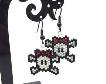 Skull bow - black, white and red - brick stitch bead weaving earrings