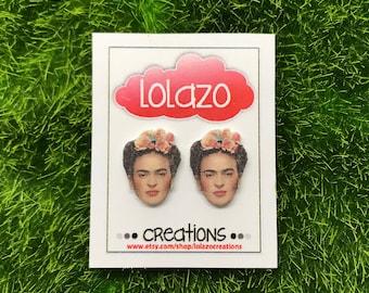 Frida Kahlo Face Earrings, Frida Kahlo Face Stud Earrings, Frida Kahlo Earrings , Frida Kahlo, Frida, Earrings