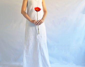 The Beach Dress Maxi- Women's Long Linen A-line Tank Dress in White