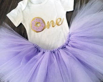 Lavender and Gold Donut birthday themed outfit