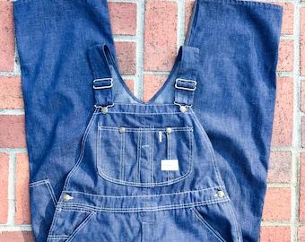 Vintage 1960s/70s Dark Denim Overalls || Union Made Sears Tradewear Overalls || Medium Large