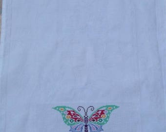 Embroidered Butterfly hand towel