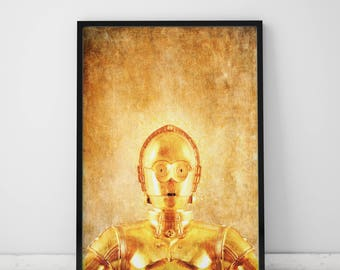 Star Wars Art Prints C3PO Art  Star Wars Prints Graphics  C3PO Print Star Wars Movie Poster Art Print C3PO Poster Star Wars Gift For Him