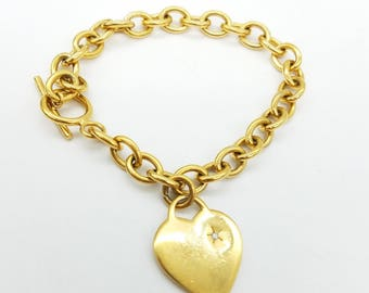 """Heavy Gold Over Sterling Silver Link Bracelet with Heart Charm & Toggle Clasp - 7"""""""