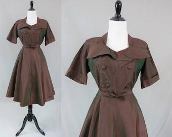 50s Taffeta Dress - Red Green Stripes Checks - Afternoon Dress - Full Skirt - Vintage 1950s - M