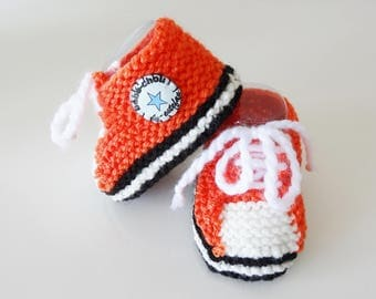 orange baby sneakers handmade - baby - baby booties shoes - tennis