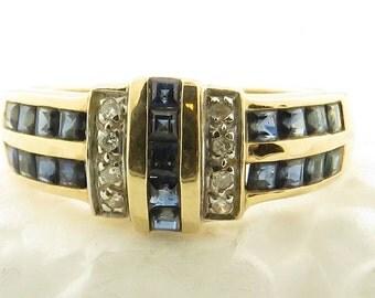 Vintage 14 kt Gold Diamond & Blue Sapphire Ring / 8