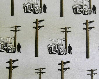 Lineman Lineworker Fabric Material 1/4 yard and up