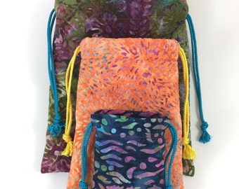NEW Drawstring Batik Fabric Pouches - Set of 3