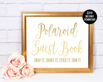 Photo Guest Book Sign In | Wedding Sign | Guest Book | 8x10 Sign | Decor | Gold | Gold Metallic Foil | Instant Download