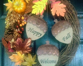 Fall Wreaths For Front Door, Fall Wreath, Fall Wreathes, Fall Wreaths And Swags, Acorn Wreath, Fall Decor, Fall Decorations For Front Door