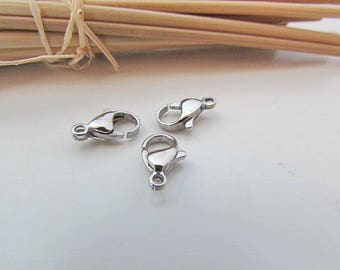 5 lobster clasps color stainless steel - 10mm, 12mm, 13 mm, 15 mm