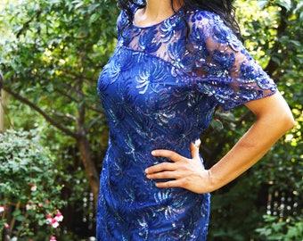 Vintage Robert Anthony Blue Sequin Dress  Size 12  80s /90s