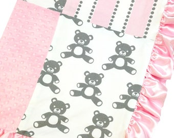 Crib Blanket Pink Teddy Bear