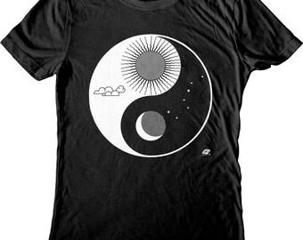 Yin Yang, Moon Sun, Taijitu Taoist Men's and Women's Tee or Tank Top.  Screen Printed, not vinyl!