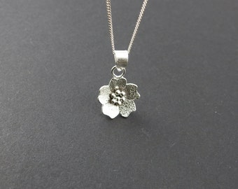 Sakura pendant Cherry blossom necklace Boho jewelry One of a kind Silver jewelry Gift for her Silversmith jewelry Nature jewelry Spring gift