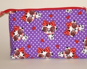 DOGGIES WITH SUNGLASSES 100% cotton fabric Cosmetic Bag, gift bag with full width opening and nylon zipper closure
