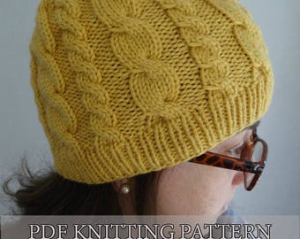 Almost FREE KNITTING pattern easy cable hat, knitted hat, knitted beanie / Instant download PDF