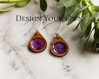 Custom Earrings, Personalized Earrings, Design Your Own Earrings, Wood Earrings, Statement Earrings, Natural Earrings, Jewelry Gift for Her