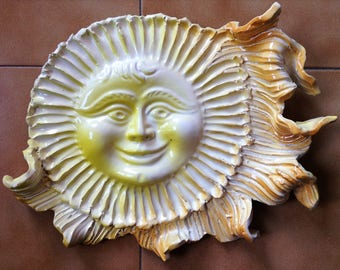 Big yellow ceramic sun wall decoration