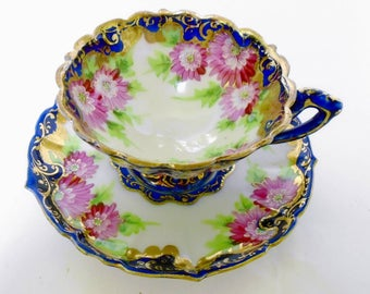Antique Nippon tea cup and saucer, Pink Mums & Aster Ornate footed tea cup, Hand painted gold cobalt teacup and saucer, porcelain
