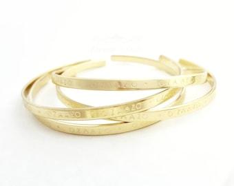 Custom Cuff Bracelet | Coordinates Bracelet | GPS Latitude Longitude | Word Bracelet | Name Bracelet | Open Cuff Bracelet