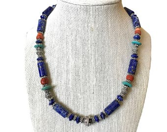 Sterling Silver Natural Lapis, Turquoise & Red Coral Necklace