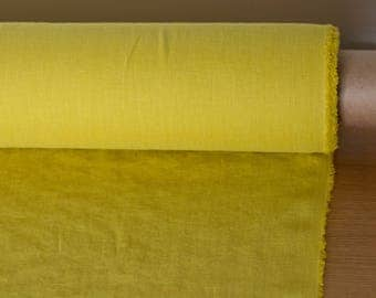 "LINEN FABRIC 205GSM medium weight ""dusty"" yellow washed pure 100% linen linen fabric Organic linen fabric Linen fabric by the metre"