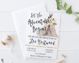 Baby Shower Invitation Girl Let the Adventure Begin Baby Shower Invitation Printable - Tribal Baby Shower Invitation - Teepee Baby Shower