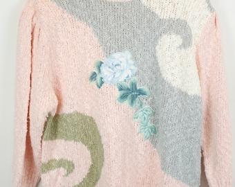 Vintage Sweater, Vintage Knit Pullover, 80s, 90s, pastel pink, rose, oversized look