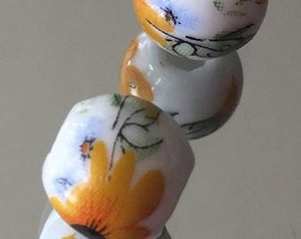 Sunflower Handpainted Ceramic Beads - 10mm Chinese Beads - Package of 5