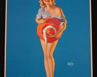 Vintage 1940s Art Deco Brown & Bigelow Calendar Co. Leggy Blonde Titled Soft Shoulders Large Lithographic Pin-Up Print by Earl Moran
