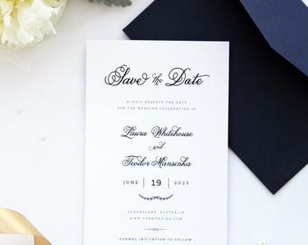 Laura Navy Save the Date cards, Modern Calligraphy Save the Date card, Chic Wedding Stationery, Navy Wedding Stationery