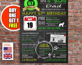 67th birthday gift, 67 years old, personalised 67th present, UK and US versions
