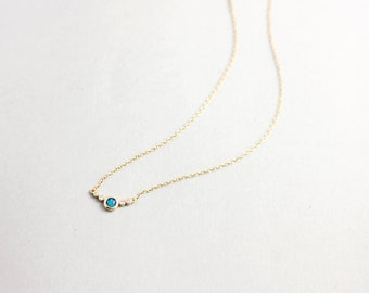 Opal Necklace, Blue Opal Necklace, Dainty Opal Necklace, Blue Opal, Gift For Her, Layering Opal Necklace, Layered Necklace, 0065