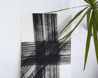 Strokes of ink black. Minimalist. Black and white.