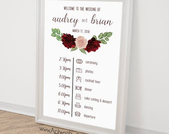 Wedding timeline sign - Wedding itinerary agenda - Wedding schedule sign - Timeline event sign - navy blue marsala wedding timeline sign