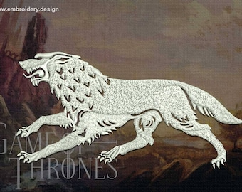 Stark wolf from Game of Thrones embroidery design - downloadable