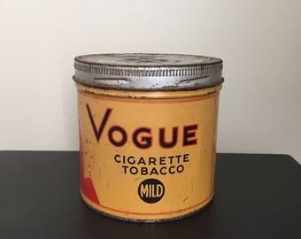 Vintage Vogue Cigarette Tin Can Man Cave Tobacciana