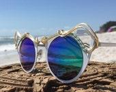 White with BLue Reflective CaT EyE ~ SPUNGLASSES ~ Retro Boho Hippie Chic ~ Wire Wrap Wrapped Sunglasses Sunnies Eyewear OOaK  Free Shipping