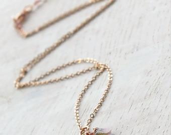 Raw Watermelon Tourmaline Necklace, Tourmaline Pendant, Tourmaline and Rose Gold filled Necklace, October Birthstone, Pink Tourmaline