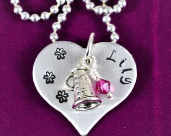 Gift for Cheerleader, Cheerleading gifts, Cheer Jewelry, Hand Stamped Cheer Necklace, Personalized Cheerleading Gifts